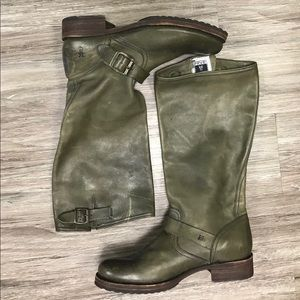 Frye Veronica Slouch Tall Moto Boots. 9.5